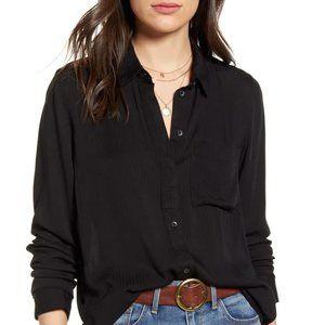 Treasure Bond black striped blouse button down New
